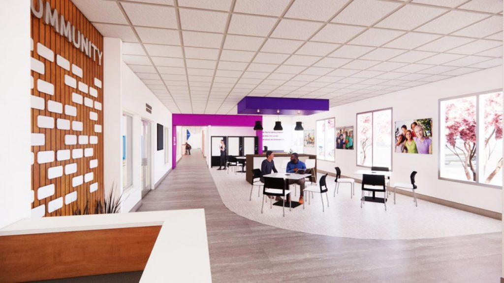 An artists rendition of how the lobby will look after the proposed expansion of the Fayette County Family YMCA in phase 2.