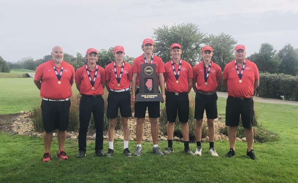 The Vandalia Boys golf team led after the first round of the state tournament in Bloomington, and never looked back as they brough home the big hardware. From left are Coach Jason Laack, Dylan Halford, Conner McCall (4th place), Chase Laack (2nd place), Jacob Schaal, Jonah Beesley, and Coach Kevin Schroeder.